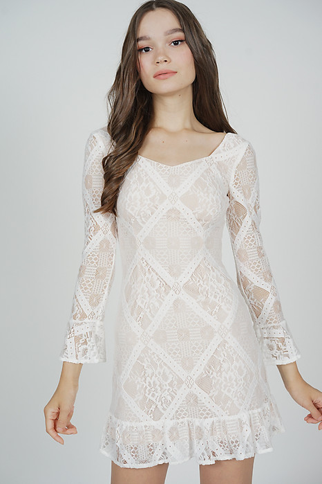 Aisha Lace Dress in White