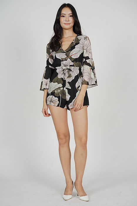 Terri Flared-Sleeve Romper in Black Floral - Online Exclusive
