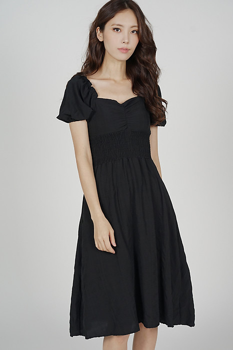 Eida Puffy Dress in Black - Online Exclusive