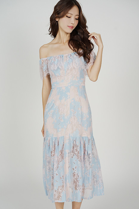 Marena Lace Dress in Blue Pink - Arriving Soon