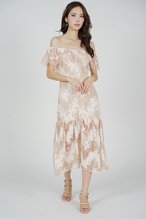 Marena Lace Dress in Nude - Arriving Soon