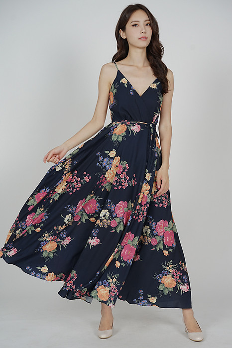 Florencia Wrapped Maxi Dress in Midnight Floral