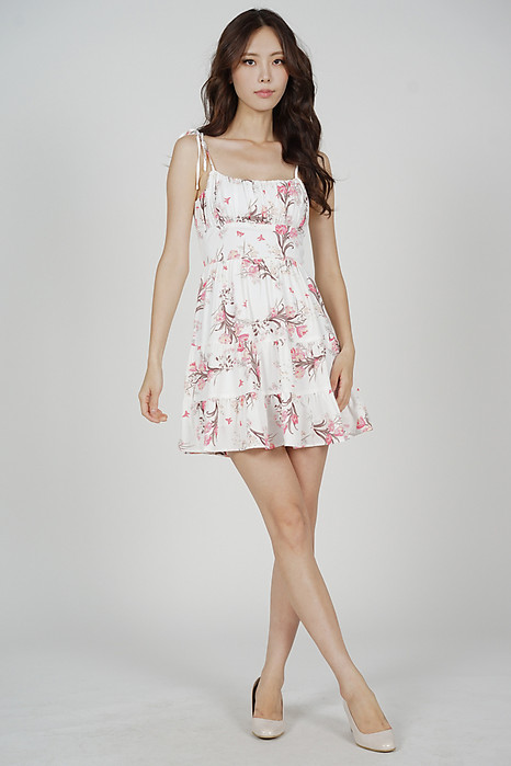 Sazna Gathered Dress in White Pink Floral - Arriving Soon