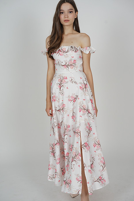 Charelle Slit Dress in White Floral - Arriving Soon