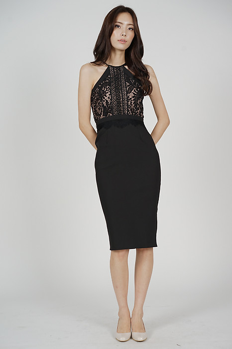 Prisca Halter Dress in Black
