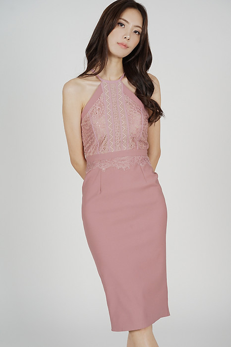 Prisca Halter Dress in Pink