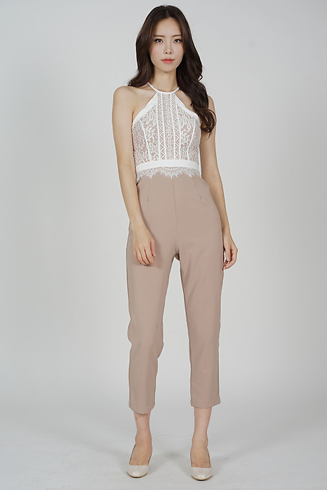 Demi Halter Jumpsuit in White - Arriving Soon