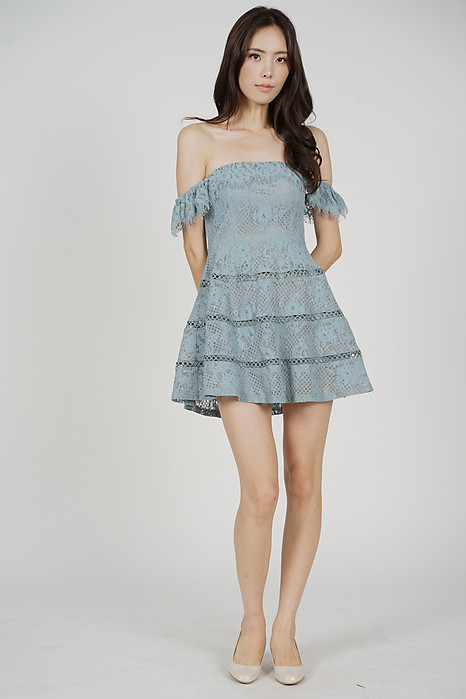Maiko Lace Dress in Blue