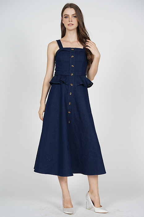 Greta Peplum Dress in Blue Denim - Arriving Soon