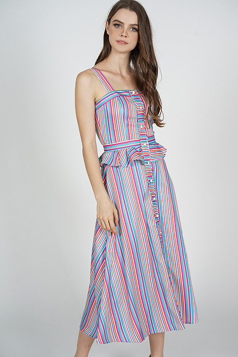 Greta Peplum Dress in Multi Stripes - Arriving Soon