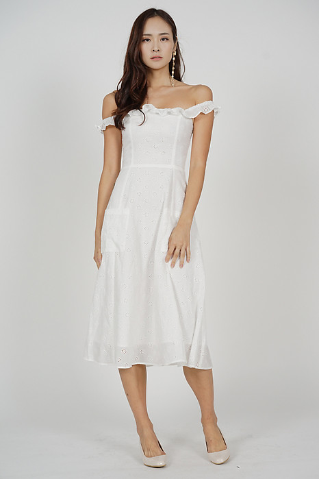 Haziel Eyelet Dress in White