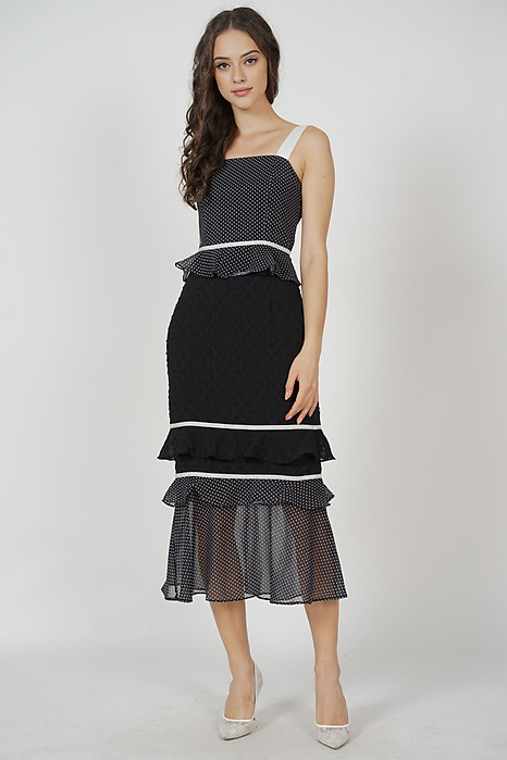 Odine Ruffled Dress in Black