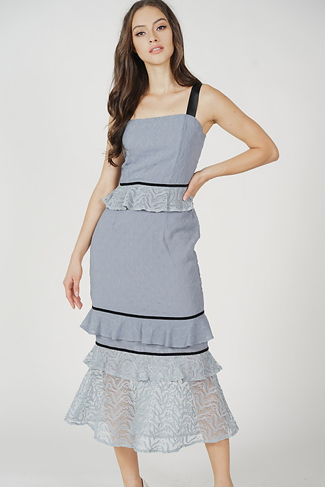Mello Ruffled Dress in Ash Blue - Arriving Soon