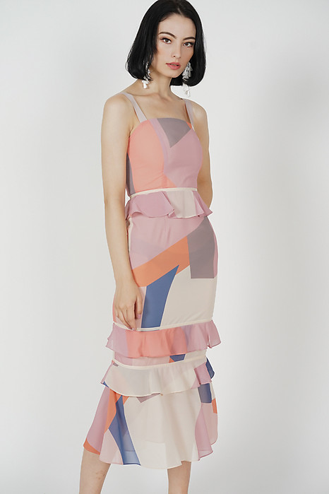 Odine Ruffled Dress in Pink Abstract