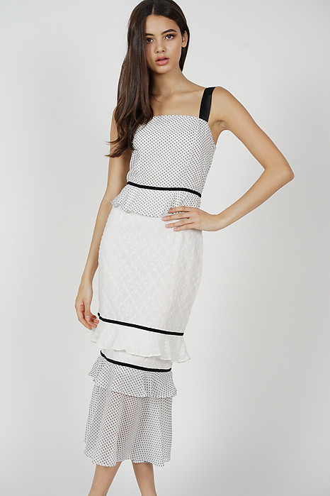 Odine Ruffled Dress in White