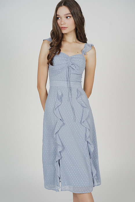 Melsie Gathered Front Tie Dress in Ash Blue - Arriving Soon