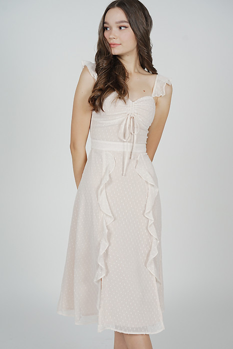 Melsie Gathered Front Tie Dress in Cream - Arriving Soon