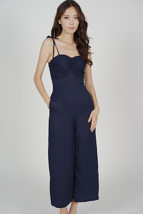 Telicia Gathered Front Jumpsuit in Midnight - Arriving Soon