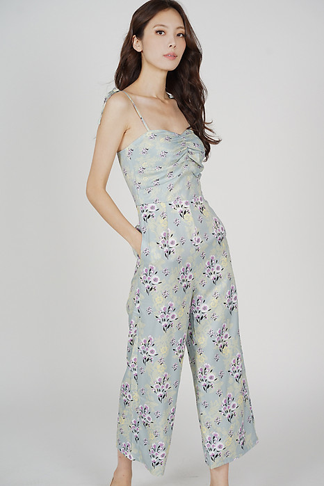 Telicia Gathered Front Jumpsuit in Mint Floral - Arriving Soon