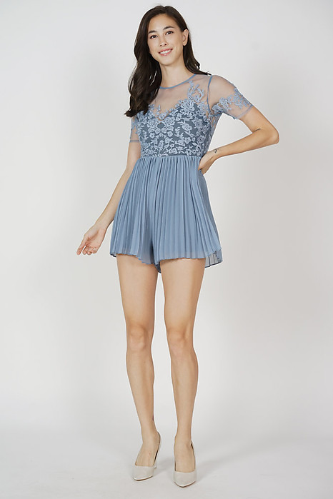 Lewis Pleated Romper in Ash Blue