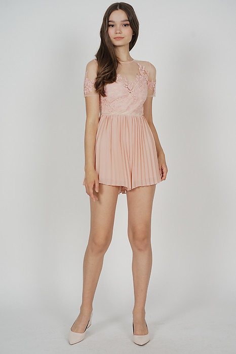 Lewis Pleated Romper in Pink