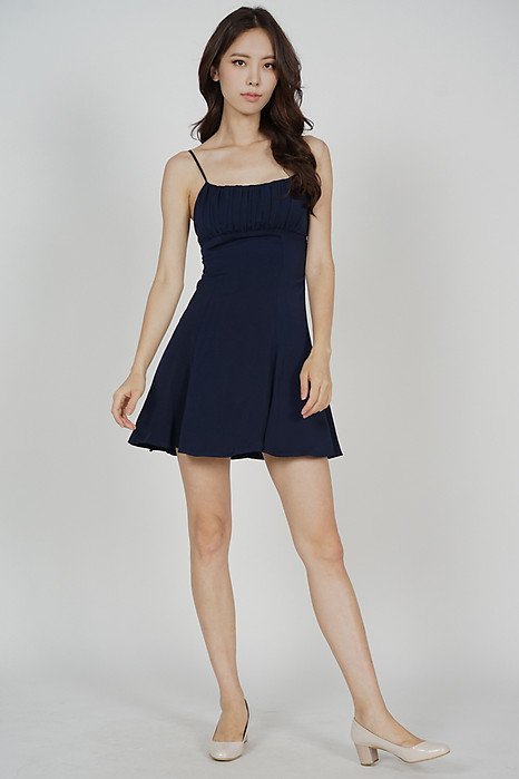 Veska Flared-Hem Dress in Midnight