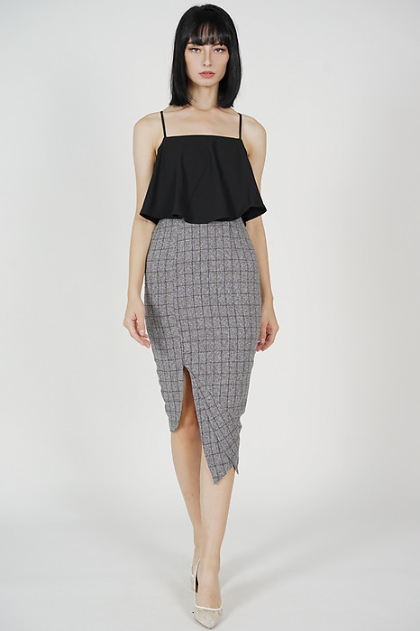 Marvie Cutout Slit Dress in Black Grey Checks - Arriving Soon