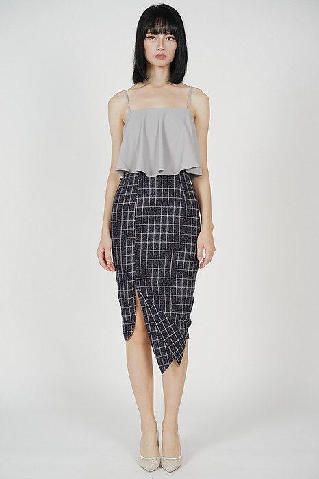 Marvie Cutout Slit Dress in Grey Black Checks - Arriving Soon