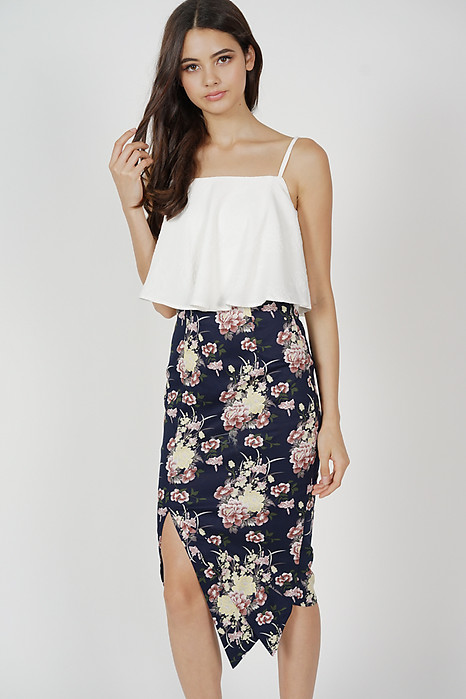Marvie Cutout Slit Dress in Midnight Floral