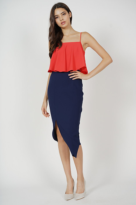 Marvie Cutout Slit Dress in Red Midnight - Arriving Soon