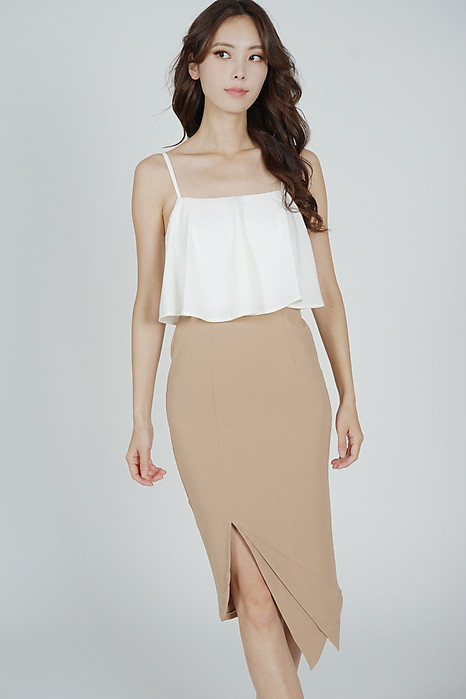 Marvie Cutout Slit Dress in White Nude - Arriving Soon