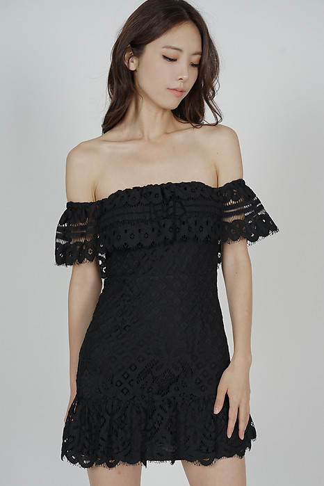 Noelle Lace Dress in Black - Arriving Soon