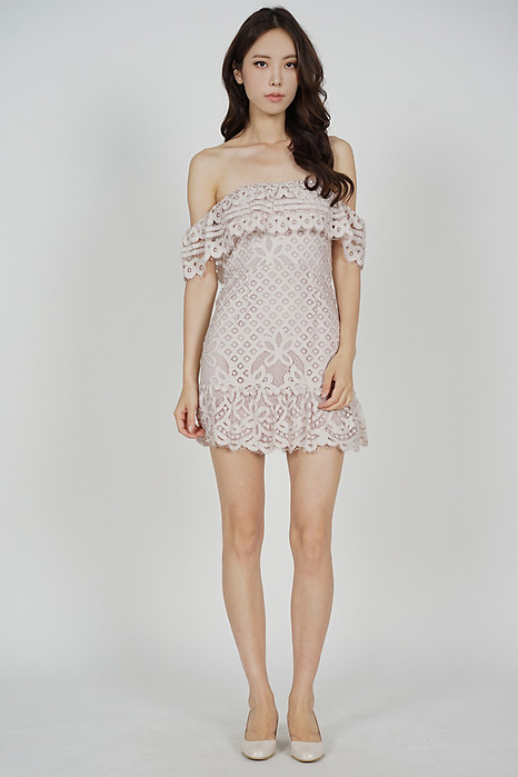 Noelle Lace Dress in Blush - Arriving Soon