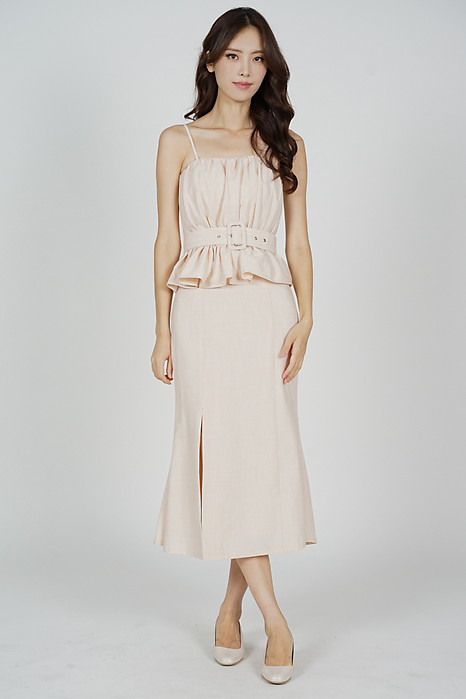 Bessi Ruffled Peplum Dress in Beige - Arriving Soon