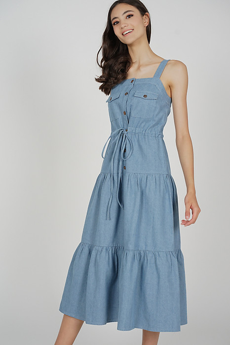Mitza Drawstring Denim Dress in Light Blue - Arriving Soon