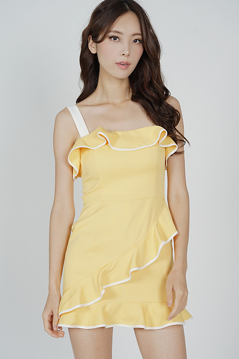 Maddie Contrast Ruffled Dress in Mustard - Arriving Soon