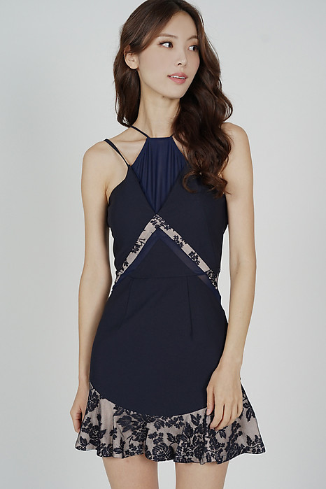 Kayra Halter Dress in Midnight