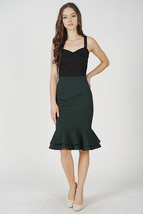 Marian Ruffled-Hem Dress in Black Green - Arriving Soon