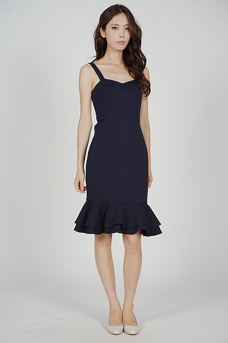 Marian Ruffled-Hem Dress in Midnight