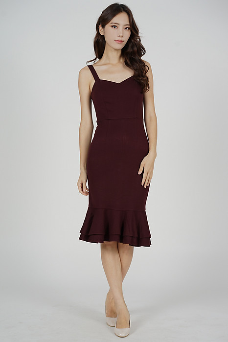 Marian Ruffled-Hem Dress in Oxblood