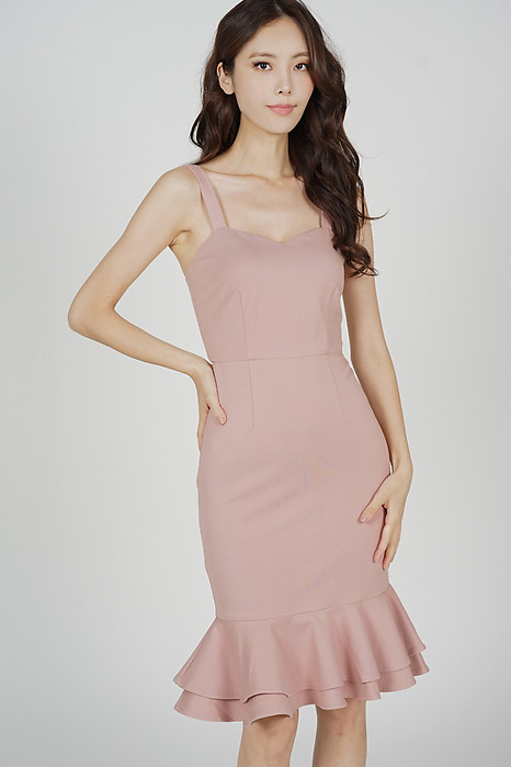 Marian Ruffled-Hem Dress in Pink - Arriving Soon