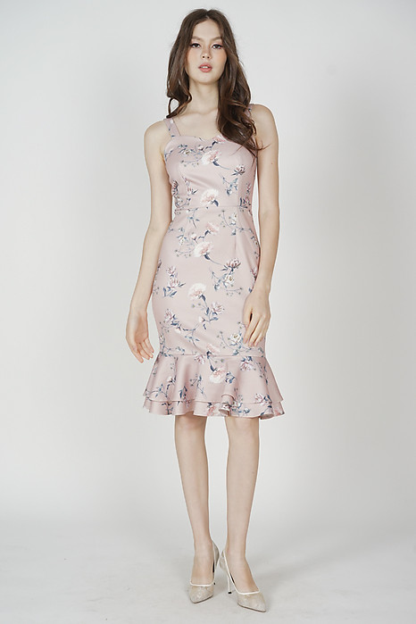 Marian Ruffled-Hem Dress in Pink Porcelain Bloom