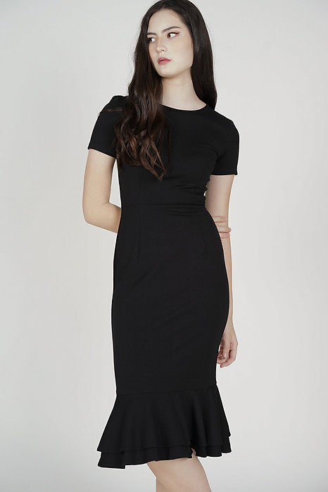 Claire Mermaid Dress in Black