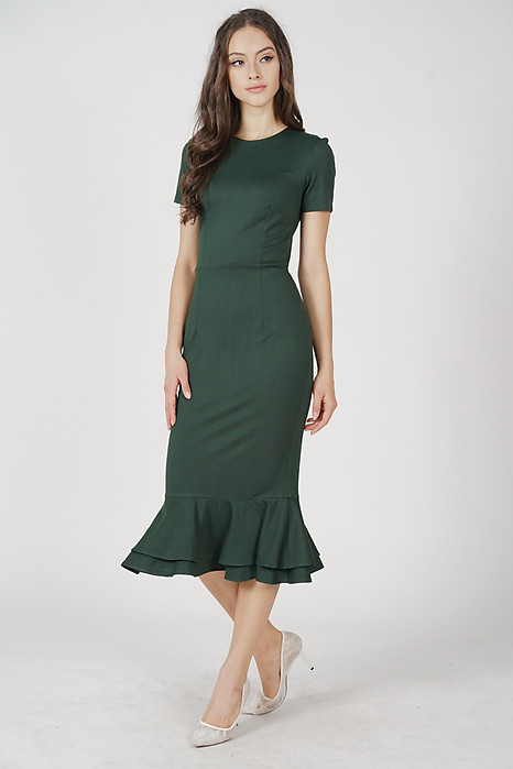 Claire Mermaid Dress in Olive
