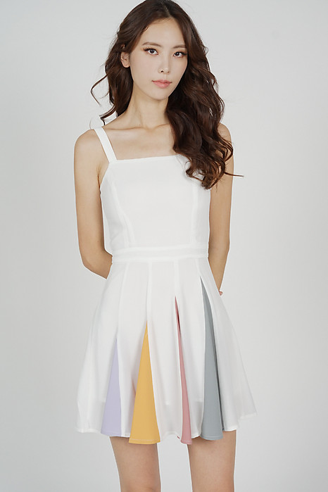 Elana Paneled Flare Dress in White - Arriving Soon