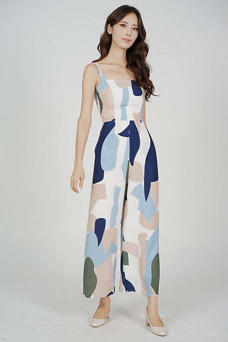 Anya Jumpsuit in Blue Abstract - Arriving Soon