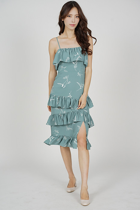 Gareth Ruffled Dress in Green - Arriving Soon