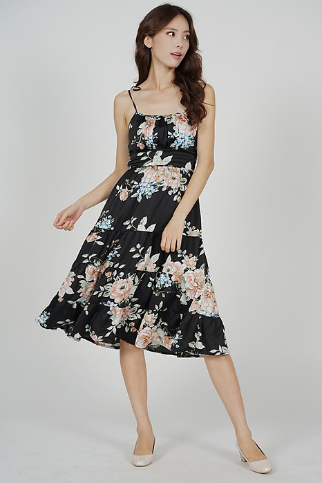 Edira Gathered Dress in Black Floral - Arriving Soon