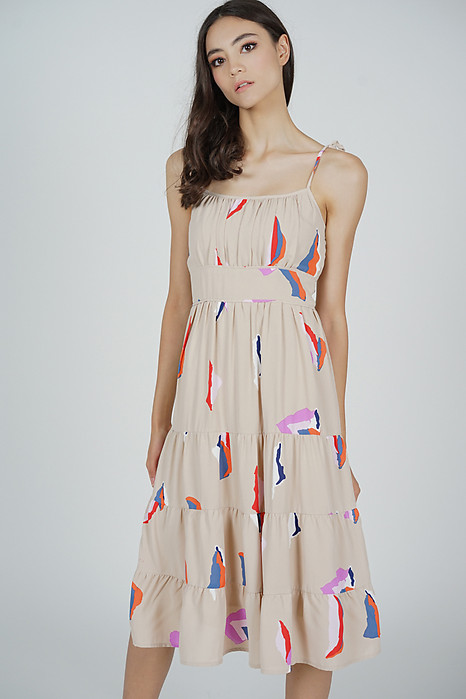 Edira Gathered Dress in Nude Abstract - Arriving Soon