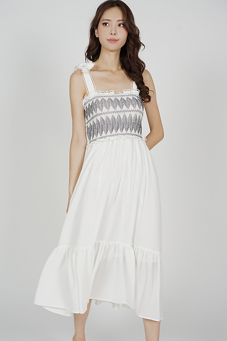 Nara Midi Dress in White
